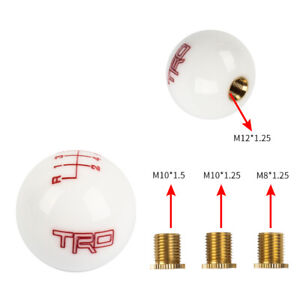 TRD White ball Round Shift knob 6 Speed Manual Car Racing Gear with M8 M10 M12