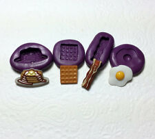 Silicone Molds Miniature Breakfast Set (12-23mm) Fake Food Waffle Egg Bacon Clay
