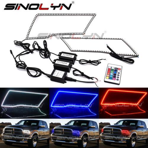 For Dodge Ram Headlight RGB SMD LED Halo Ring RGB Multi-Color Angel Eyes Remote