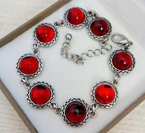 Vintage-CZECH-Ruby-Red-Mirror-Glass-Cabochon-Bracelet-10mm