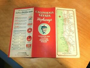 1936 CALIFORNIA & NEVADA MAP Compliments Eppersons Oakland Ca. FLYING A GASOLINE