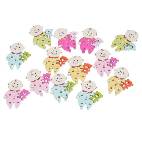 150PCs Cute Baby 2 Holes Wooden Buttons Sewing DIY Scrapbooking 35x29mm
