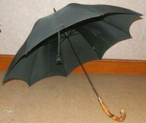 Vintage-Gents-Black-Kendall-Umbrella-12ct-Gold-Collar-And-Bamboo-Handle