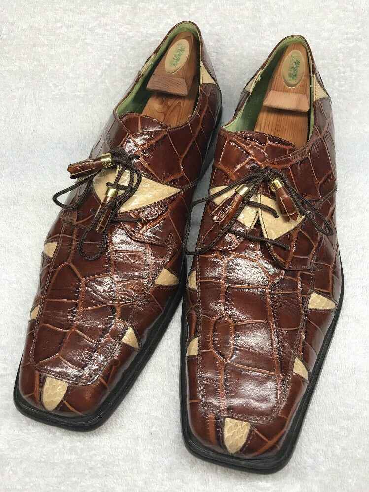 Marco Vicci Men's Clayton golden Brown Snake Skin and Leather shoes Sz 14m