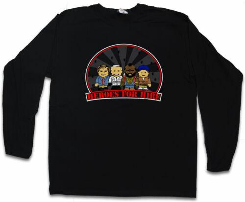 HEROES FOR HIRE LANGARM T-SHIRT The A-Team Hannibal A BA Mr T Team Van