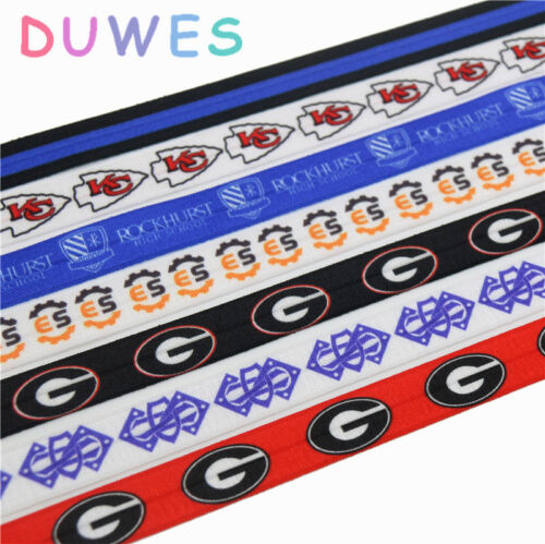 50yards Bulldogs Kansas City Chiefs sport printed Fold Elastic stretch ribbon