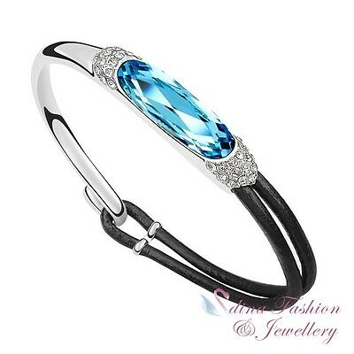 18K White Gold GP Black Leather Made With Swarovski Crystal Ocean Blue Bangle