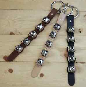 Arctic Silver Sleigh Bell Leather Strap Hanger Door Chimes / Handmade in USA