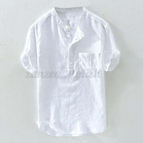 Men/'s 100/%Cotton Short Sleeve Shirt Henley Causal Holiday Blouse T Shirt Summer