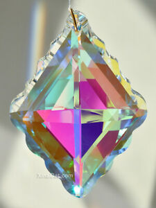 76mm-Crystal-Clear-AB-Prism-SunCatcher-Diamond-Shaped-Ruffle-Huge-3-034-New-2019