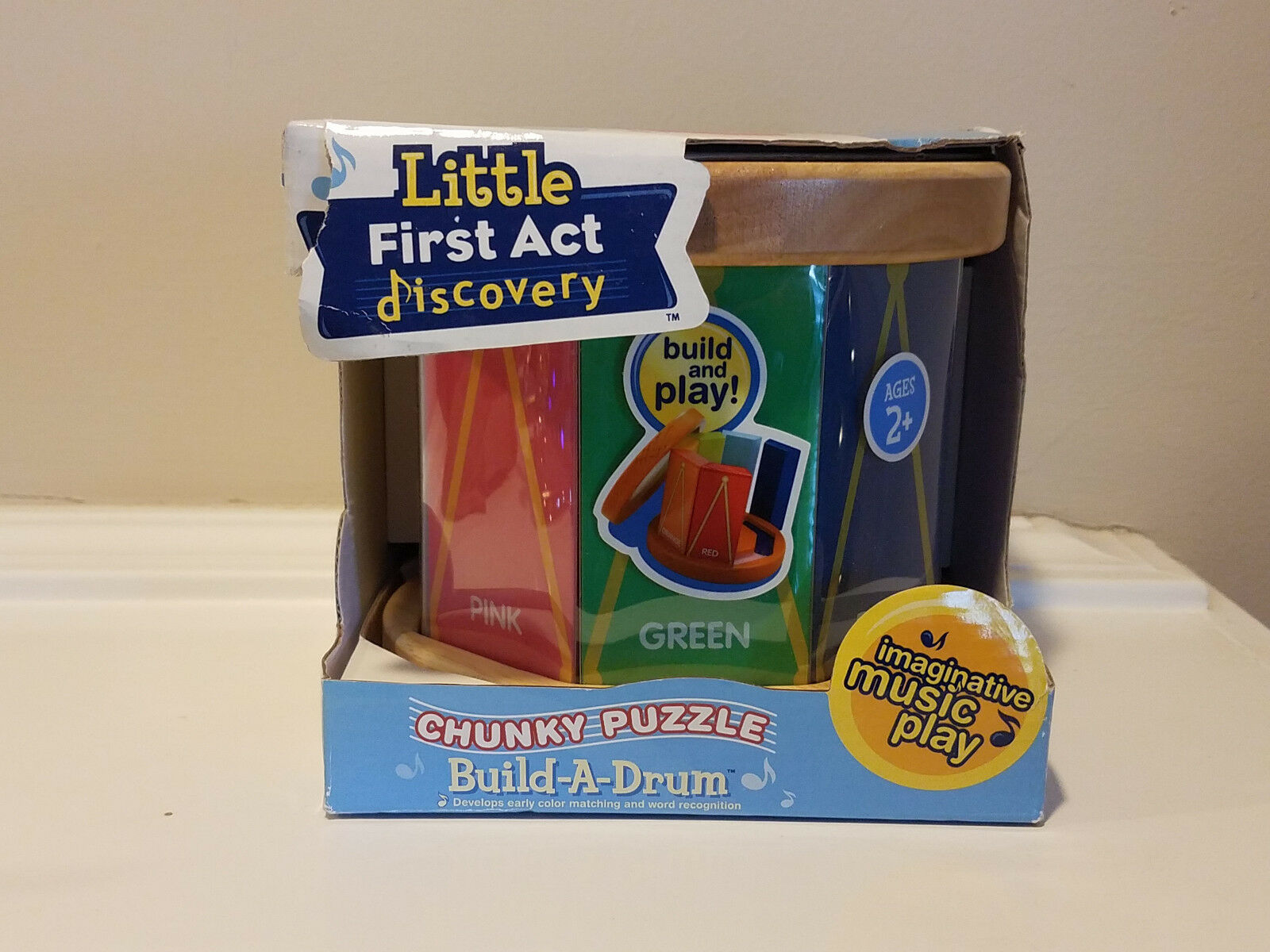 Little First Act Discovery Build-A-Drum Chunky Puzzle  Build Play  NEW 2007