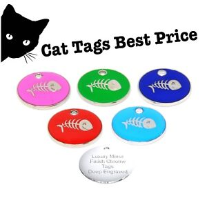 personalised engraved enamel fish bone tag dog cat pet id tags