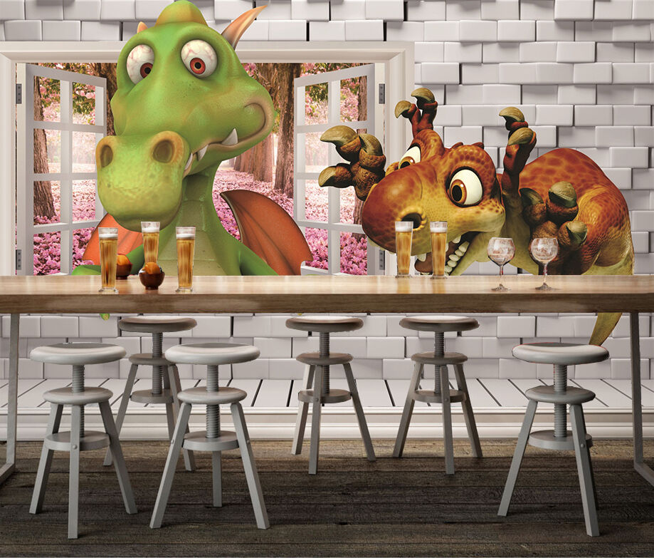 3D Cartoon Dinosaurier 387 Fototapeten Wandbild Bild Tapete Familie Kinder