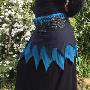 New Blue & Black Pixie BoHo Hippie Festival Stretch Cotton Skirt S/M