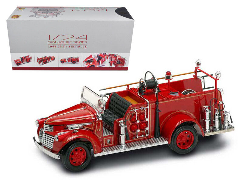 1941 GMC Fire Engine Red w  Accessories 1 1 1 24 Diecast Model Car by Road Signature 92d065