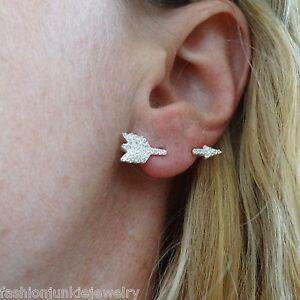 Details About Cz Arrow Earring 925 Sterling Silver Single Ear Jewelry Archery Arrows New
