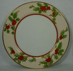 Image is loading FITZ-&-FLOYD-china-CHRISTMAS-HOLLY-pattern-DINNER- & FITZ u0026 FLOYD china CHRISTMAS HOLLY pattern DINNER PLATE 10-1/4