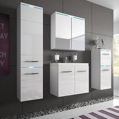 Lieblich Moderne Badmöbel Set Badezimmer Savona 5tlg. Mit Waschbecken! Weiß Hochglanz