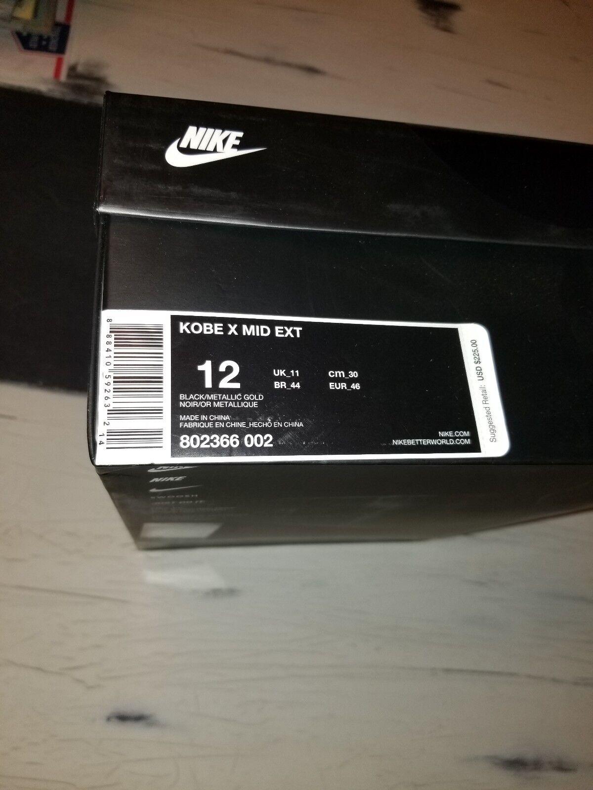 Nike Kobe X Mid EXT Black Metallic gold Size 12