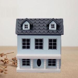 Wood-Miniature-Villa-Mini-Blue-Doll-House-Door-Open-for-Dollhouse-Kids-Gift-AUS