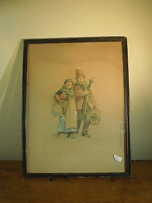 Vintage 1902 Old Couple with Birdcage Colored Litho Print by Frances Brundage