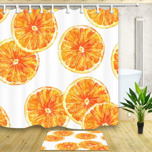 "Orange Slices Hand Drawn Bathroom Waterproof Fabric Shower Curtain /& Hook 71*71/"""