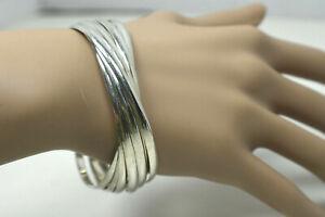 $1650 Retail Tiffany & Co Melody 9 Slinky Bracelets Sterling Silver Wide Bangles