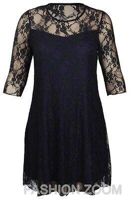 WOMENS PLUS SIZE 3/4 SLEEVE FLORAL LACE PONTE DRESS EVENING PARTY DRESS 14-28