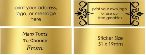 Fast custom stickers personalised postage labels gold rectangle labels x50