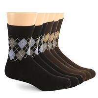 Men's Teens 6 Pairs Argyle Plaid Crew Cut Dark Color Dress Casual Shoe Socks A