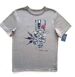 Lucky brand boys short sleeve gray 39 good luck 39 skull head for Good t shirts brands