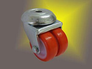Schwerlast-PU-Rolle-50mm-mit-niedriger-Bauhoehe-und-hoher-Tragkraft-von-140Kg
