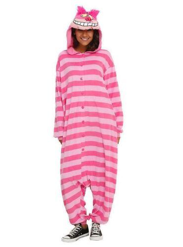 Disney Alice Wonderland Cheshire Cat Kigurumi Cosplay Halloween Costume Pajamas
