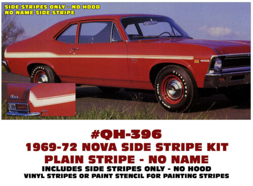 QH-396 1969-72 CHEVY NOVA SIDE STRIPES VINYL or PAINT STENCIL NO HOOD STRIPE