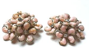 "Vintage Flower Clip on Earrings Pink Rhinestone and Hard Plastic 1-1/2"""