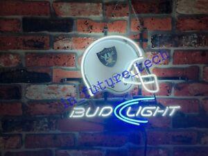 New Oakland Raiders Bud Helmet Beer Bar Man Cave Neon