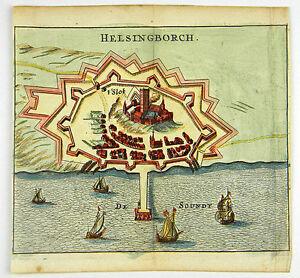 HELSINGBORG-SCHWEDEN-SWEDEN-KOL-KUPFERSTICH-ANSICHT-ZEILLER-MERIAN-1656-D863S