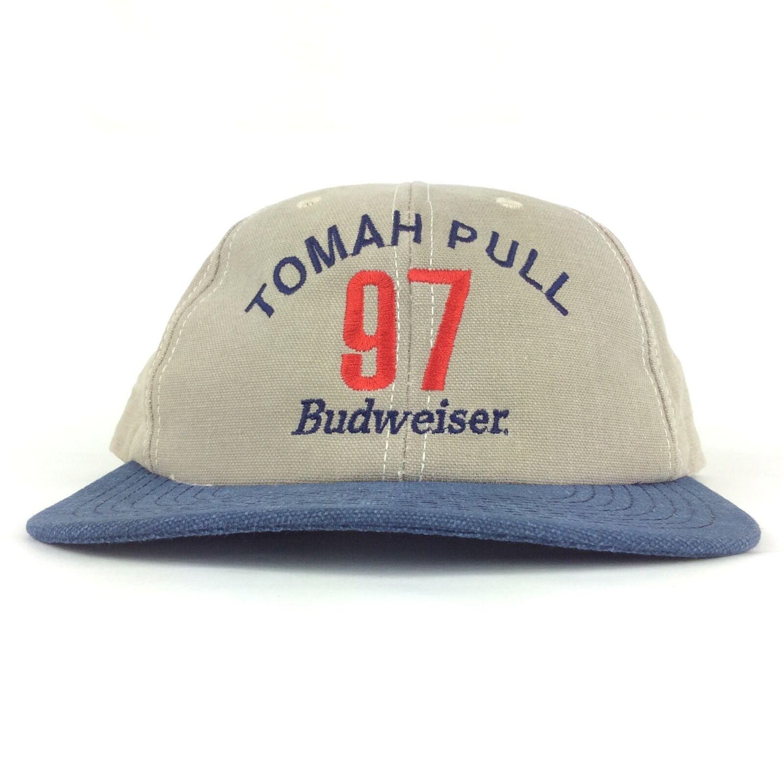 Vtg Hat 1997 TOMAH PULL Tractor Budweiser Logo Baseball Cap Hat Vtg Sm-Med Made in USA 9d4ca0
