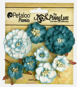 Mixed-Blossoms-TEAL-8-Paper-Flowers-25-45mm-across-Penny-Lane-Petaloo-Ver