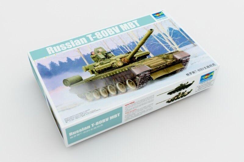 05566 trumpetare modelllllerlerl militär DIY 1  35 Ryska T -80BV MBT Huvudstridstank
