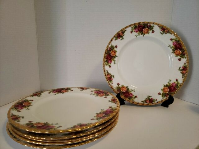 SET OF 6 ROYAL ALBERT CHINA OLD COUNTRY ROSES DINNER PLATES, ENGLAND 10 1/2