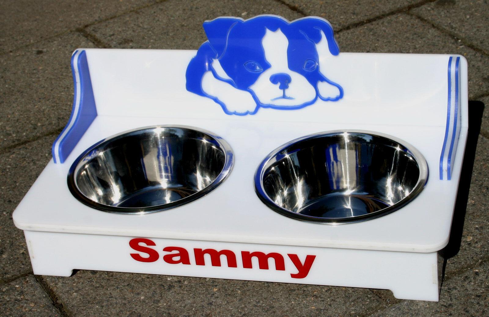 Hunde Futterstation Futterbar Napfhalter Hundenapf 2 Näpfe 3D Design  | eine breite Palette von Produkten
