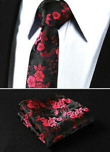 New-Luxury-Rose-Red-Floral-Paisley-Black-Tie-Wedding-Silk-Pocket-Hanky-Set