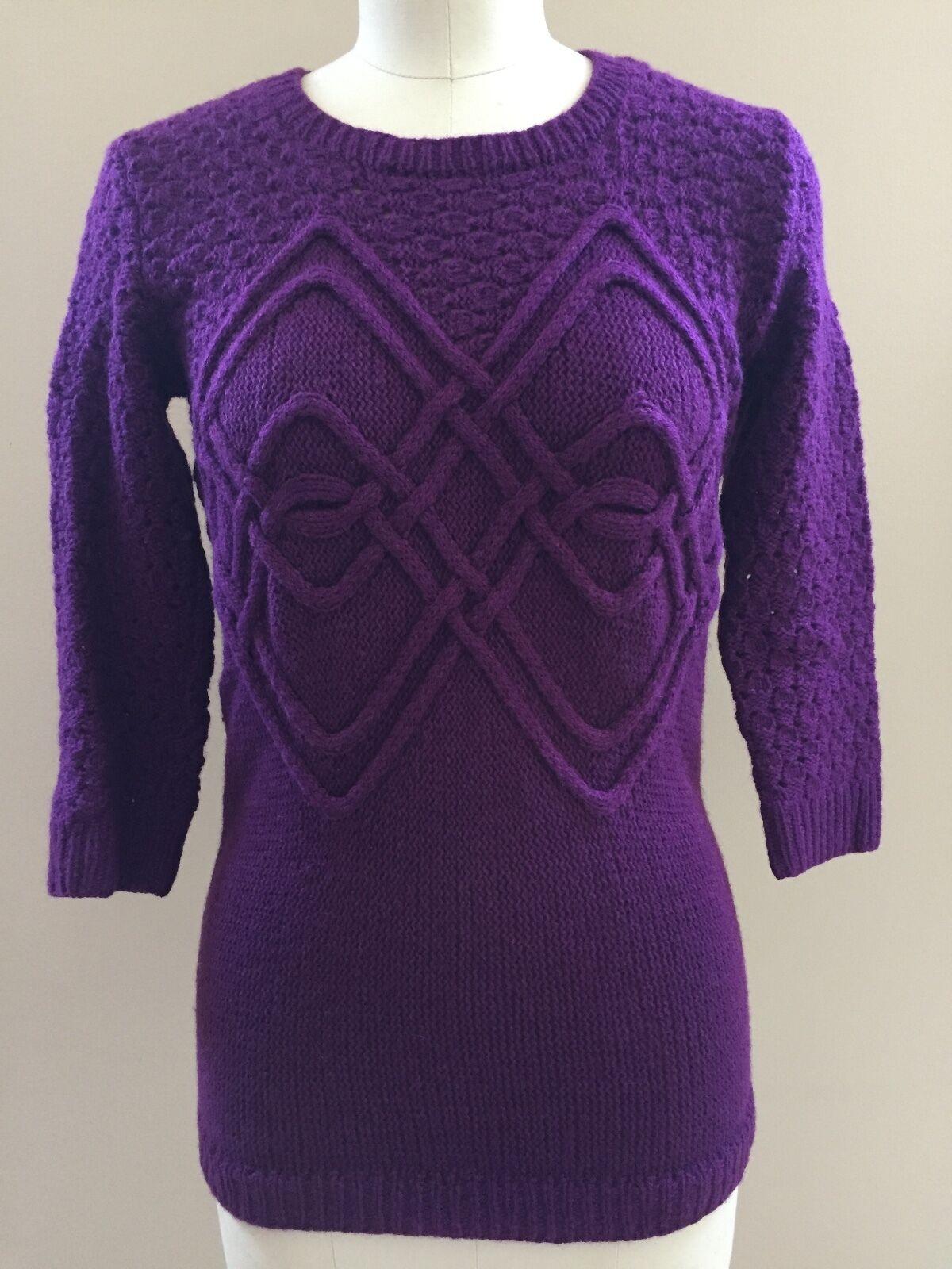 Oscar de la Renta sz M italy Purple cashmere sweater elbow sleeve