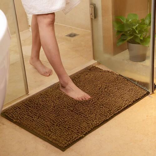 "16/""X24/"" Microfibre Shaggy NonSlip Absorbent Bath Mat Bathroom Shower Rugs Carpet"