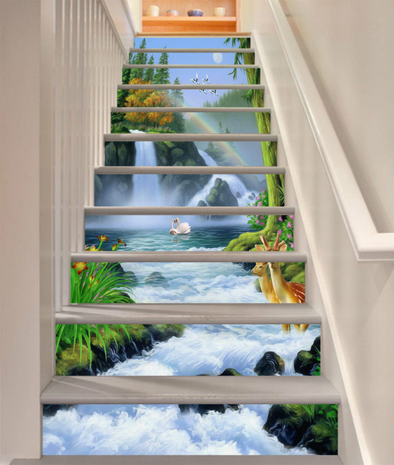 3D Flussfälle 083 Stair Risers Dekoration Fototapete Vinyl Aufkleber Tapete DE
