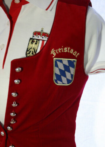 La Camisa Gilet Weste Trachtengilet Bayern Wappen Samt rot Gr 34