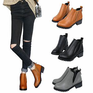946253e614a0 Fashion Women Ankle Boots Leather Low Heels Boots Autumn Winter Soft ...