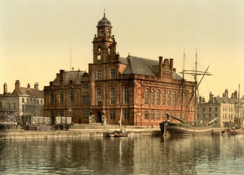 1890/'s Norfolk Great Yarmouth Town Hall Vintage English Photography Poster