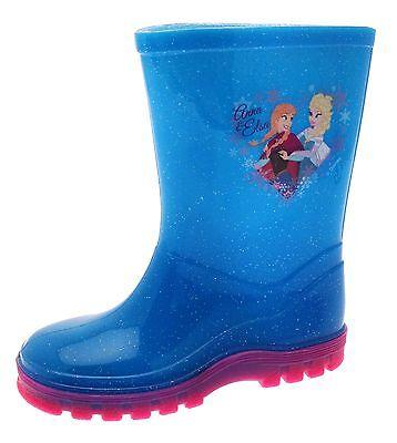 Kids Girls Disney Frozen Wellington Boots Rain Wellies Wellys Shoes Size UK 6-12